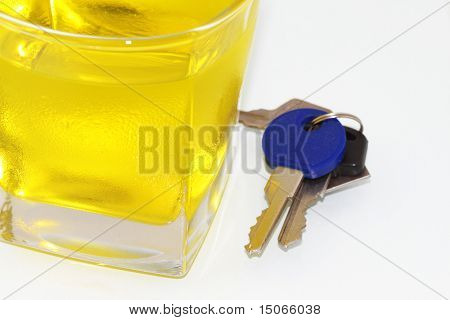 Keys In Front Of A Wine Glass