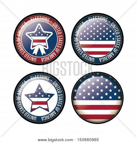 Usa flag and stars inside button icon. Vote election nation and government theme. Colorful design. Vector illustration