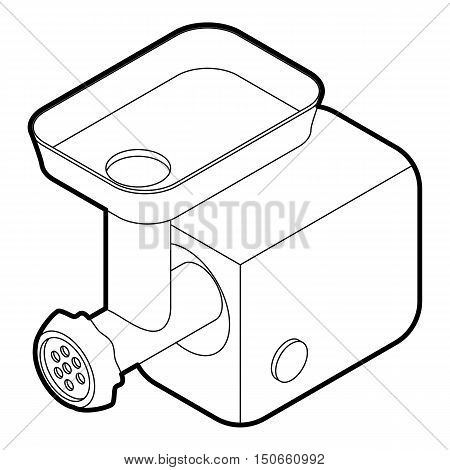 Electric meat grinder icon in outline style on a white background vector illustration