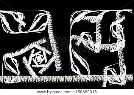 Abstract Fractal Illustration Of White Chinese Calligraphy