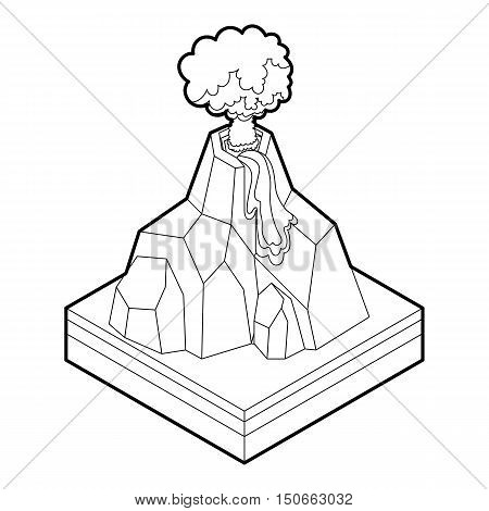 Volcano erupting icon in outline style on a white background vector illustration