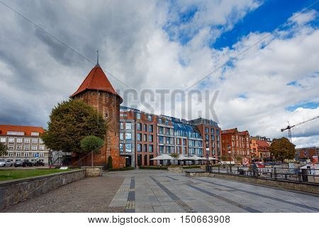 Gdansk Poland - October 04 2016: View of the Hilton hotel in old city of Gdansk autumn time