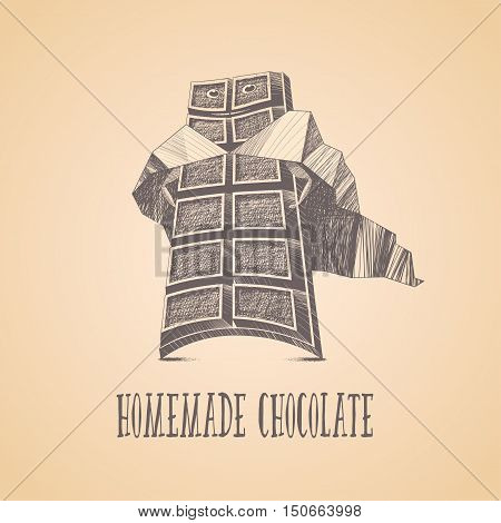 Homemade chocolate shop vector logo icon symbol emblem. Cute graphic design element illustration with chocolate as superhero for menu sweet shop decoration confectionery