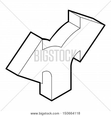 Two way direction arrow icon in outline style on a white background vector illustration