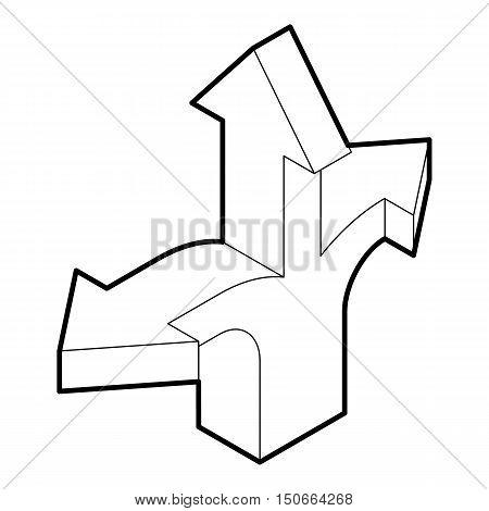 Three way direction arrow icon in outline style on a white background vector illustration