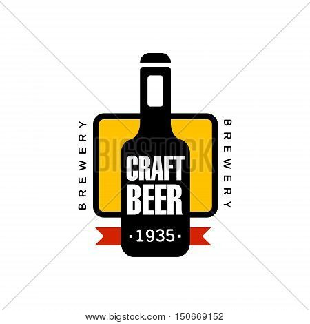 Craft Beer Logo Design Template. Black And Yellow Vector Label With Text And Establishment Date For Brewery Promotion.