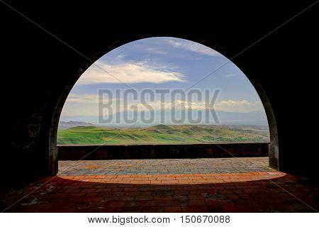 Charents Arch view to Ararat mountain Armenia
