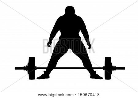 Weight lifter athlete black raster silhouette on white background.