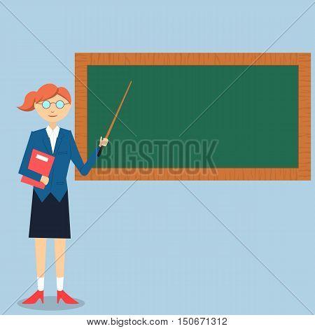 Illustration of lady teacher teaching on green board