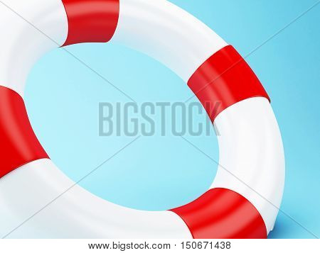3D Illustration. Red life bouy on blue background.