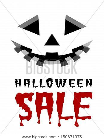 Halloween sale vector background with pumpkins lantern.