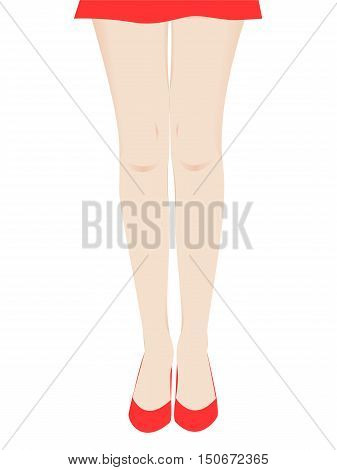 Hand Drawn Female Legs in Red Shoes. Graceful Woman Legs isolated on White. Vector Illustration.