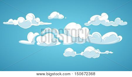 Blue sky and white clouds vector illustration. Cloudscape fluffy in atmosphere