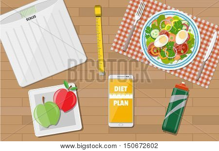 Wooden desk with late of salad, scales, inch roulette, phone app to diet, sports water, apples. weight loss, diet, healthy lifestyle. vector illustration in flat style