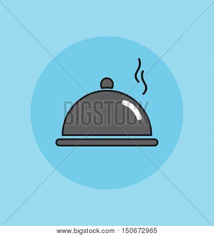 Cloche food plate vector sign illustration icon.