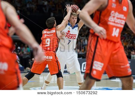 VALENCIA, SPAIN - OCTOBER 6th: Doncic with ball during spanish league match between Valencia Basket and Real Madrid at Fonteta Stadium on October 6, 2016 in Valencia, Spain
