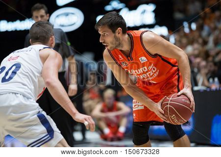 VALENCIA, SPAIN - OCTOBER 6th: Van Rossom with ball during spanish league match between Valencia Basket and Real Madrid at Fonteta Stadium on October 6, 2016 in Valencia, Spain