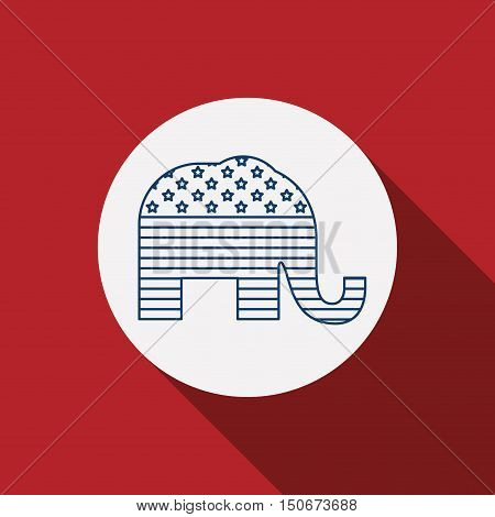Elephant inside circle icon. Vote election nation and government theme. Silhouette design. Vector illustration
