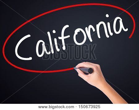 Woman Hand Writing California With A Marker Over Transparent Board