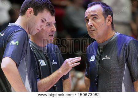 VALENCIA, SPAIN - OCTOBER 6th: Referees Team during spanish league match between Valencia Basket and Real Madrid at Fonteta Stadium on October 6, 2016 in Valencia, Spain