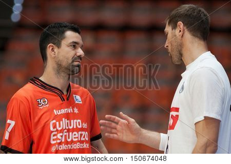 VALENCIA, SPAIN - OCTOBER 6th: L Rafa Martines and Nocioni during spanish league match between Valencia Basket and Real Madrid at Fonteta Stadium on October 6, 2016 in Valencia, Spain