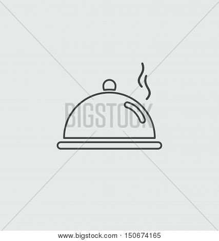 Cloche, Food Plate Illustration Icon.