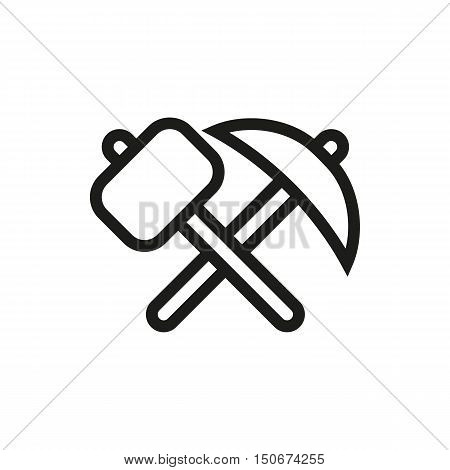 pick-axe and hammer icon on white background Created For Mobile Infographics Web Decor Print Products Applications. Icon isolated. Vector illustration