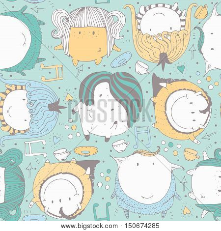 Seamless vector illustration with cute and lovely doodle monsters hearts and decoration. Bright hand drawn childish pattern on aqua background. Color cartoon alien characters based on sphere shape