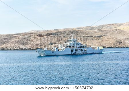Pag Croatia - July 04 2015: Ferry boat is leaving port Zigljen on island Pag and heading towards port Prizna on mainland Croatia.