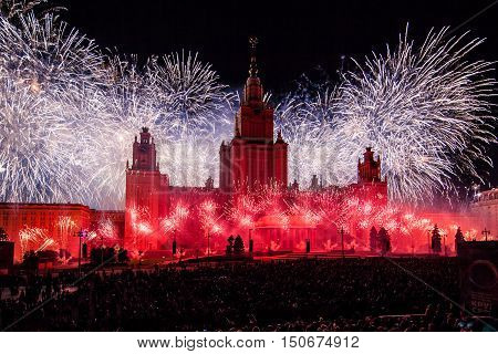 Moscow, Russia - September, 2016: Moscow International Festival Circle of light. Pyrotechnic fireworks show on Moscow State University
