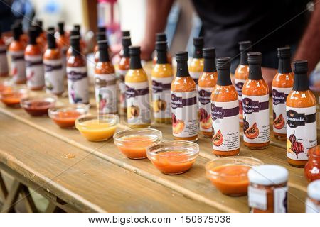 Ljubljana Slovenia - September 17 2016: 2nd Chili - Hot Pepper Festival Fair in Lepa Zoga. Different Hot Sauce makers present their products to the public. Fotrovi ciliji hot sauce.