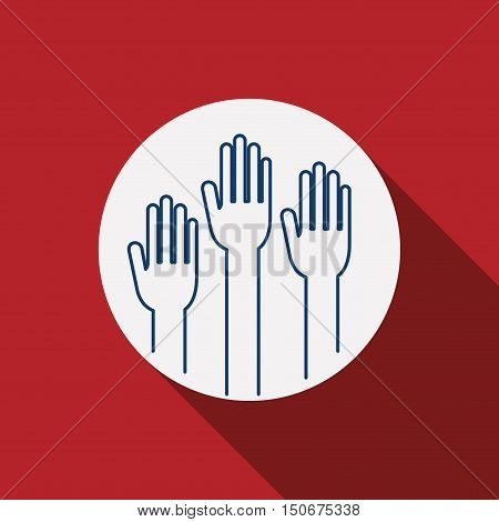 Hand icon. Vote election nation and government theme. Silhouette design. Vector illustration