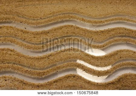 Sand waves on glass background with light reflection