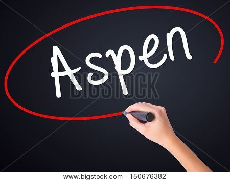 Woman Hand Writing Aspen With A Marker Over Transparent Board