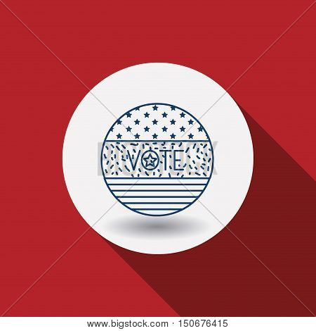 Flag circle icon. Vote election nation and government theme. Red background. Vector illustration