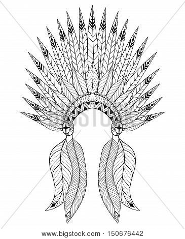 Bohemian zentangle vector War Bonnet with feathers. Decorative headdresst for adult coloring page, ethnic patterned t-shirt print. Bohochic american style. Doodle Illustration, tattoo design.