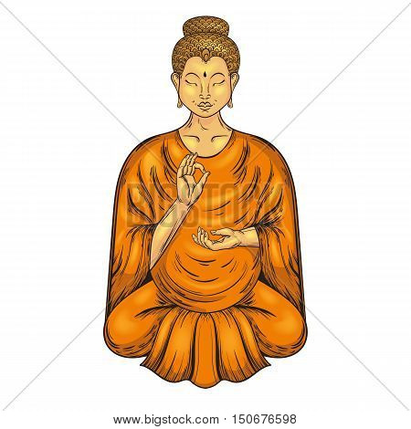 Happy Buddha sitting in Lotus pose, teaching Buddhism. Vector tattoo art, religion t-shirt print. Monochrome vintage hand drawn illustration.  Spiritual, yoga motifs, symbol of Tibet, Asia.