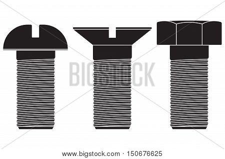 Bolt. Screw black icons. Vector illustration isolated on white background