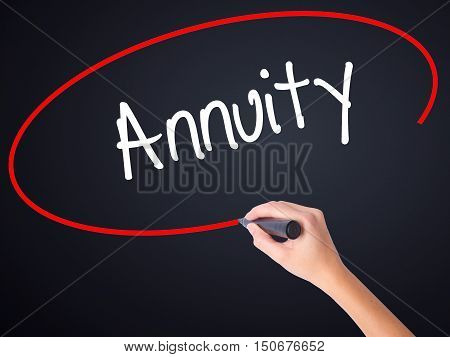 Woman Hand Writing Annuity With A Marker Over Transparent Board