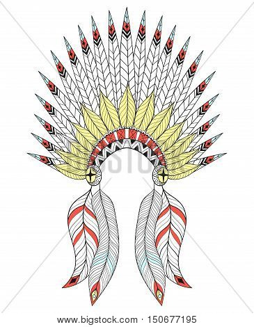 Vector zentangle War Bonnet with color feathers. American native headdress for adult coloring pages, ethnic patterned t-shirt print, tattoo design. Boho chic style. Doodle Illustration.