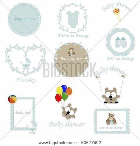 vintage set of baby frames for the boy. Baby Arrival and Shower Collection. template greeting or invitation. baby vector illustration.