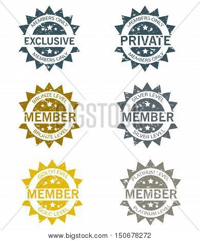 Membership Stamps vector isolated on white background