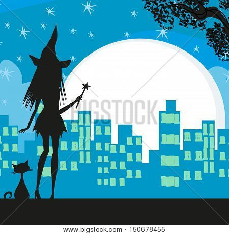 Young Witch silhouette in the city at night , vector illustration