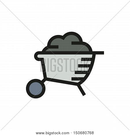 wheelbarrow isolated on white background Created For Mobile Infographics Web Decor Print Products Applications. Icon isolated. Vector illustration