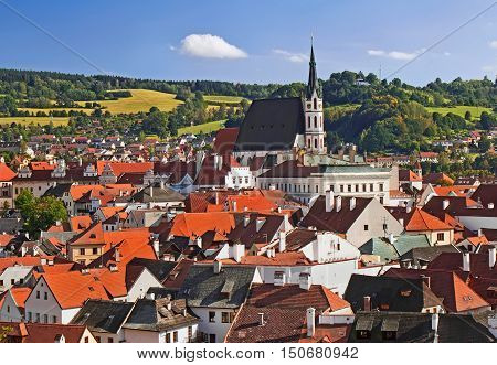 View from above (from castel) on town Cesky Krumlov Chech Republic.