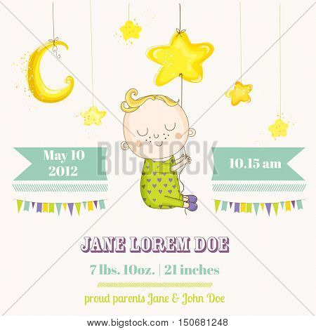 Baby Boy Sleeping on a Star - Baby Shower or Arrival Card - in vector