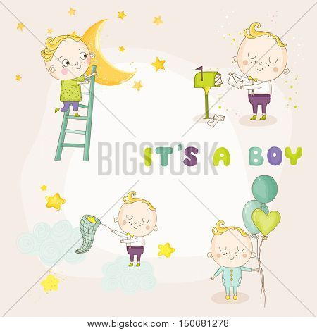 Set of Cute Baby Boy Illustrations - for Baby Shower or Arrival Card - in vector