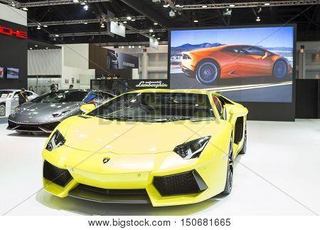 Bangkok - March 22 : yellow Lamborghini luxury sport car - in display at The 37th Bangkok international Motor Show 2016 on March 22 2016 in Bangkok Thailand
