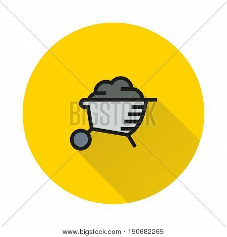 wheelbarrow isolated on round background Created For Mobile Infographics Web Decor Print Products Applications. Icon isolated. Vector illustration