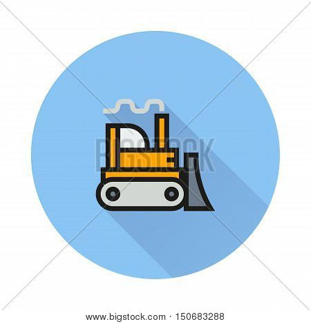 Bulldozer icon on round background Created For Mobile Infographics Web Decor Print Products Applications. Icon isolated. Vector illustration